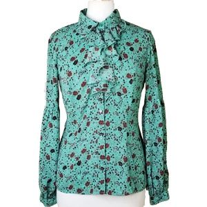 Free People Bishop Sleeve Button Down Blouse Small